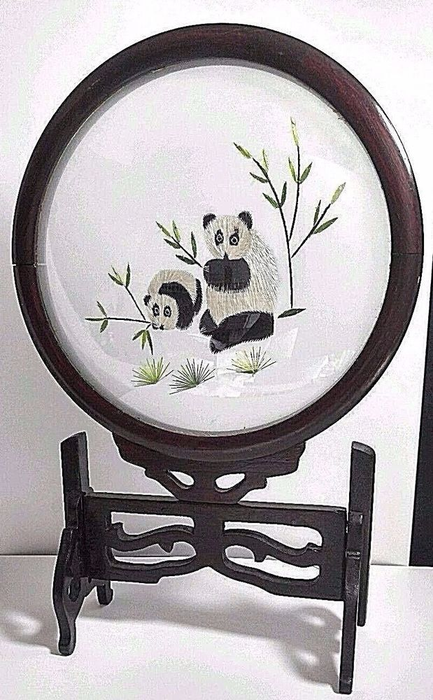Vintage Asian Panda Bear Teddy Silk Embroidery Screen Rotating Wood