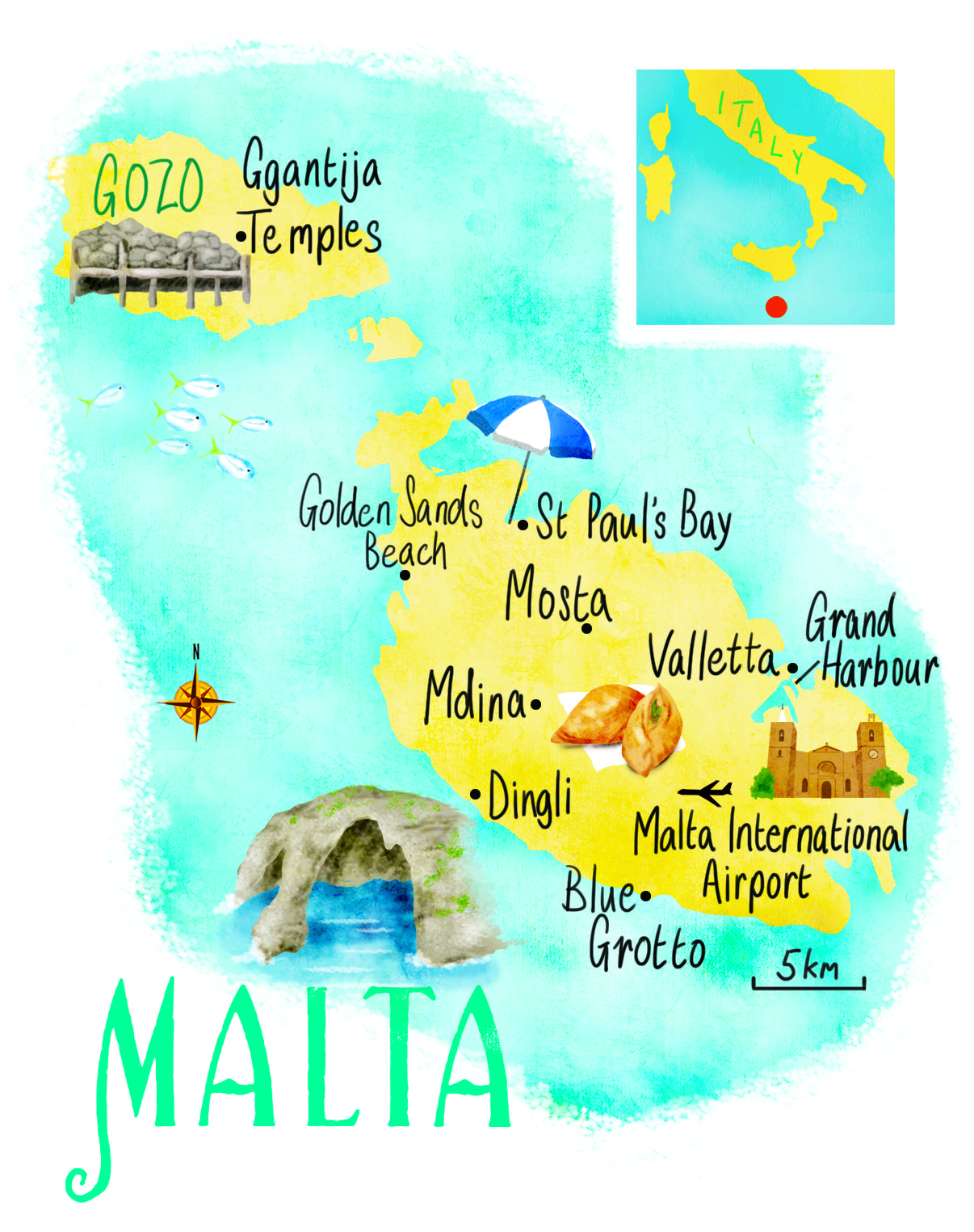 Malta Map By Scott Jessop Malta Travel Malta Travel Guide