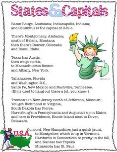 U S States Capitals Printable To Accompany The Anamaniacs States Capitals Song