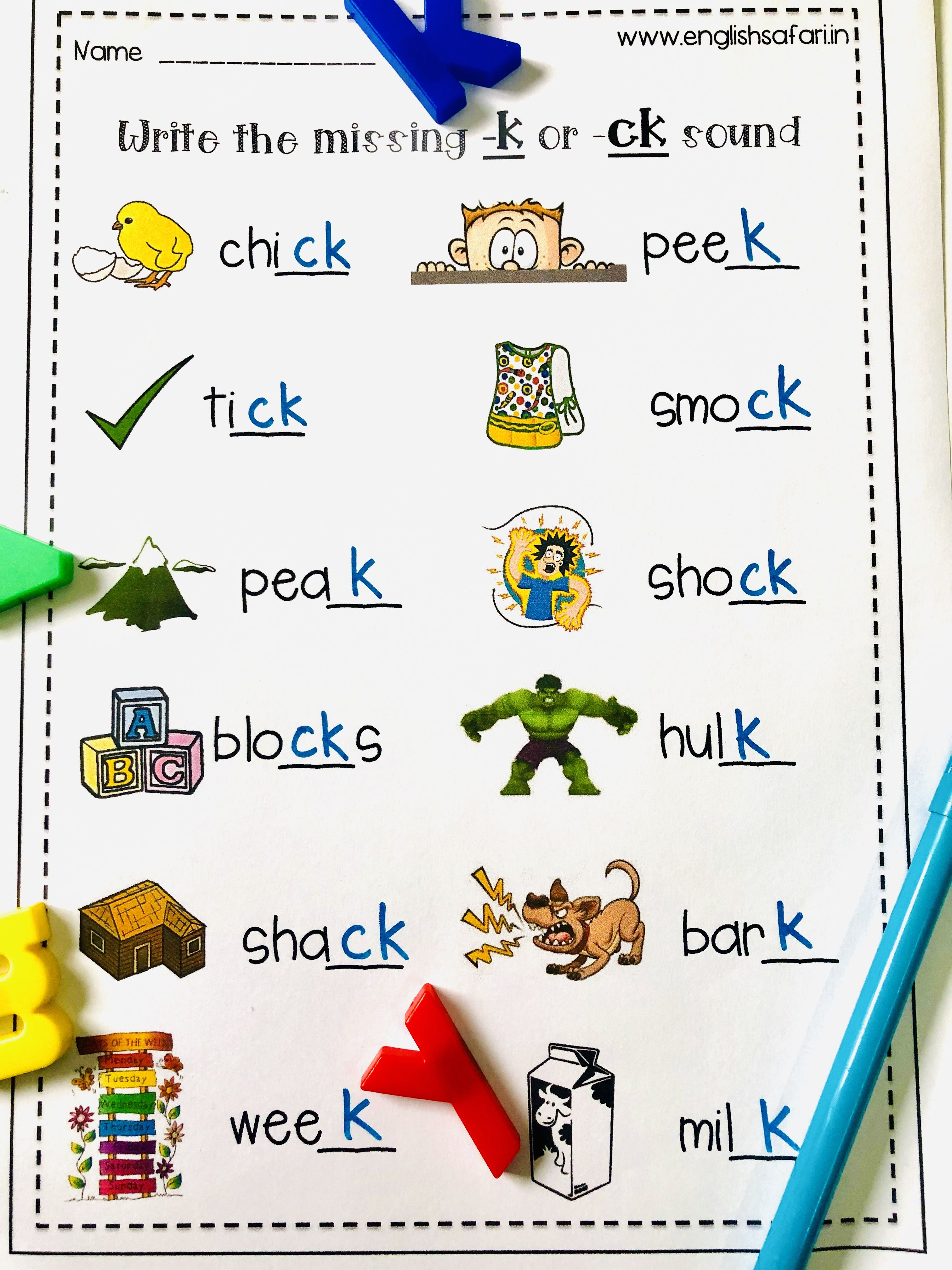 Free Ck Or K Words Worksheet Spelling Rules Activities Spelling Rules English Phonics [ 4032 x 3024 Pixel ]