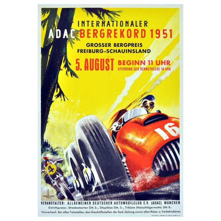 Original Vintage Car Racing Poster For The Internationaler