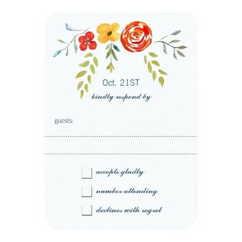 Spring RSVP Wedding Invitations Watercolor Rustic Floral Garland Folk Art Wedding Card
