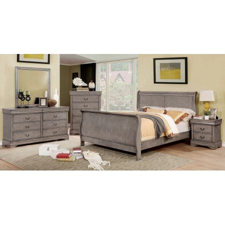 California King Size Sleigh Bed Grey Color Dresser Mirror Nightstand