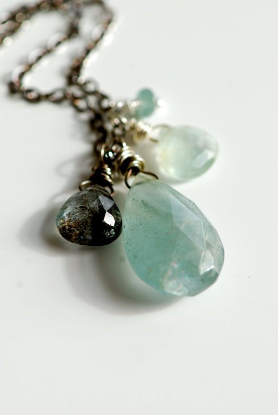 moss aquamarine necklace in silver. march by seabluestudio on Etsy, $58.00