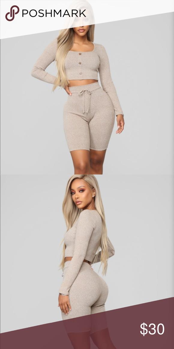2950bd5520 Fashion Nova Meant to be short set~Mocha~ Available In Mocha 2 Piece Short  Set Crop Top Long Sleeve Square Neck Button Front High Rise Biker Short ...