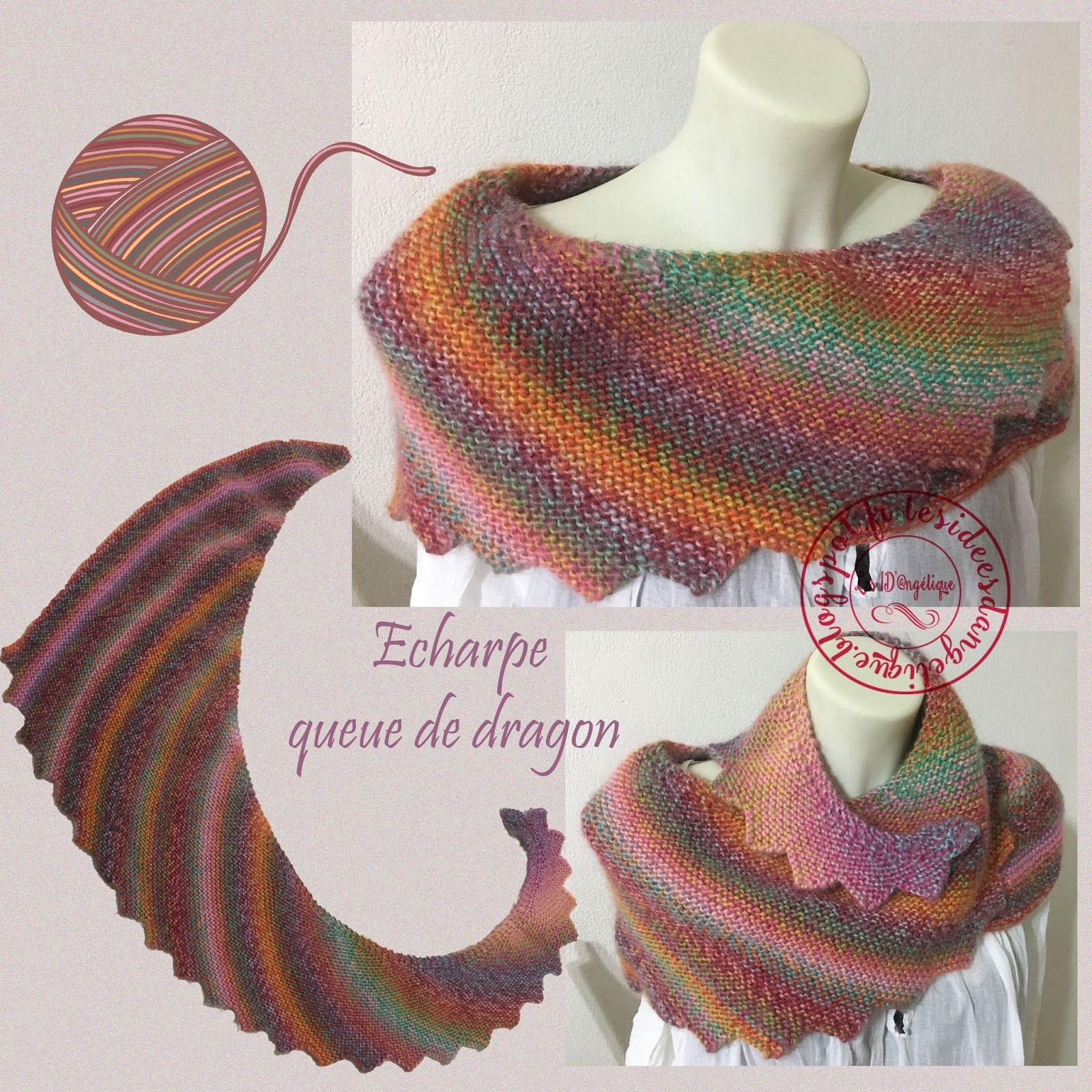 201 Charpe Queue De Dragon Arlequin Tricot Et Crochet