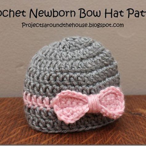 Projects Around The House Crochet Newborn Bow Hat Pattern Newborn