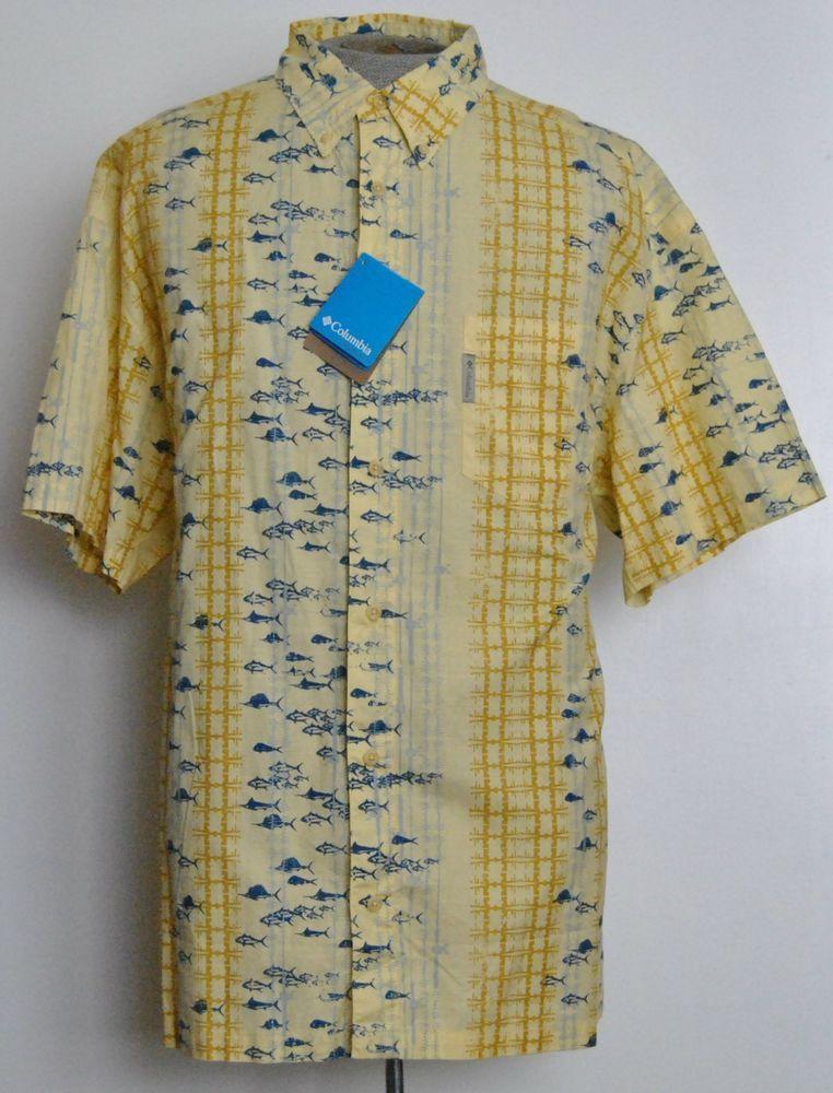 Columbia Sportswear PFG Shirt XL Yellow Animal Cotton Short SLeeve New With Tag #ColumbiaSportswearPFG #ButtonFront free shipping Buy Now  $29.99