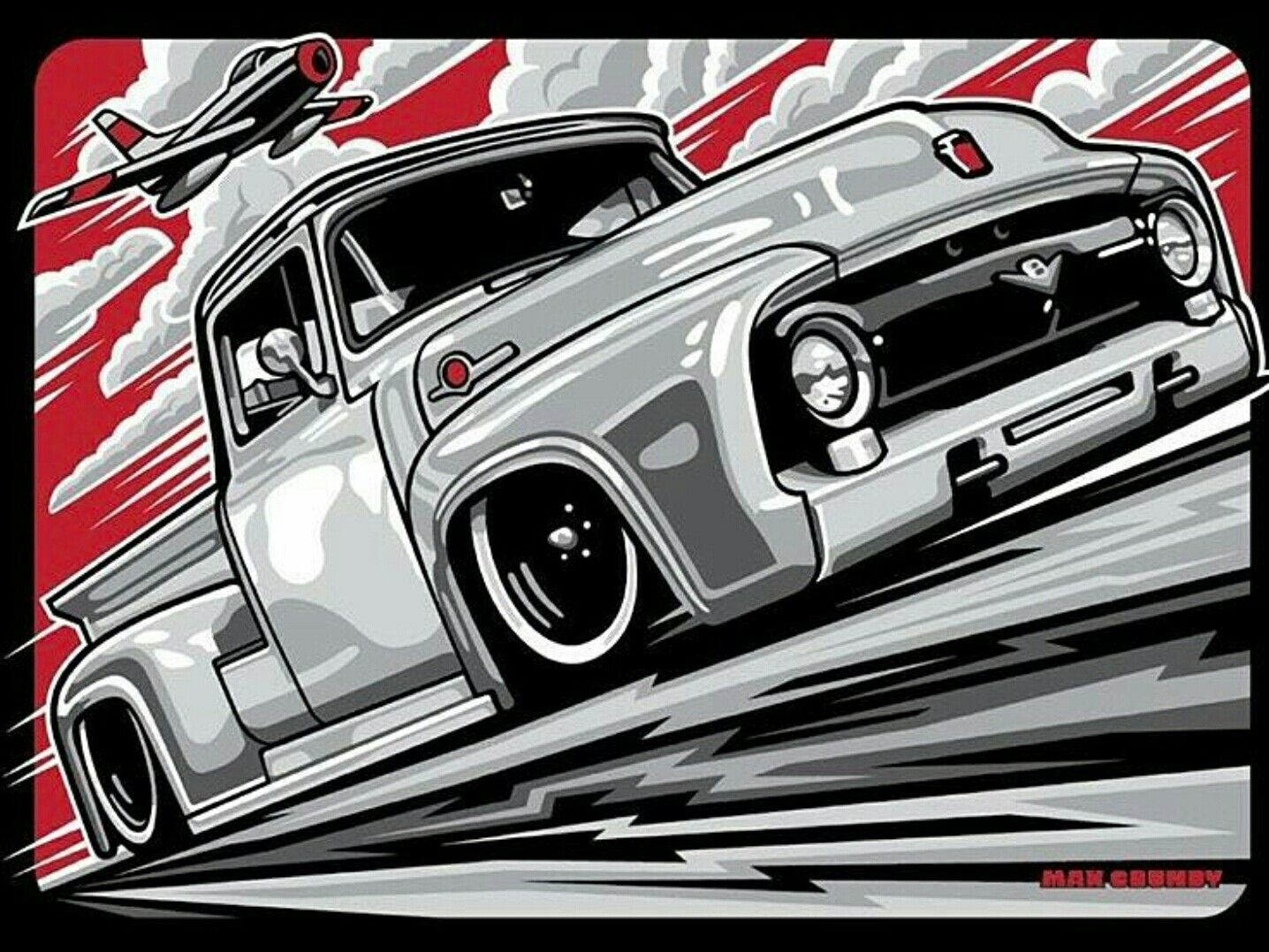 Ford F1 Art Art Cars Truck Art Car Illustration
