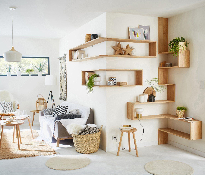 Salon sejour blanc beige naturel bois naturel authentique d co en 2019 biblioth que - Deco murale sejour ...