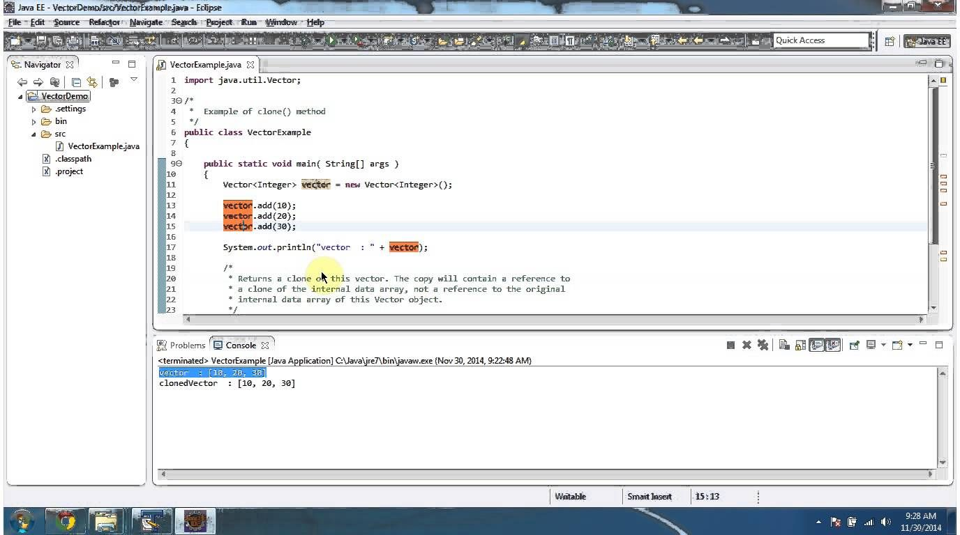 Java : Collection Framework : Vector (Clone)