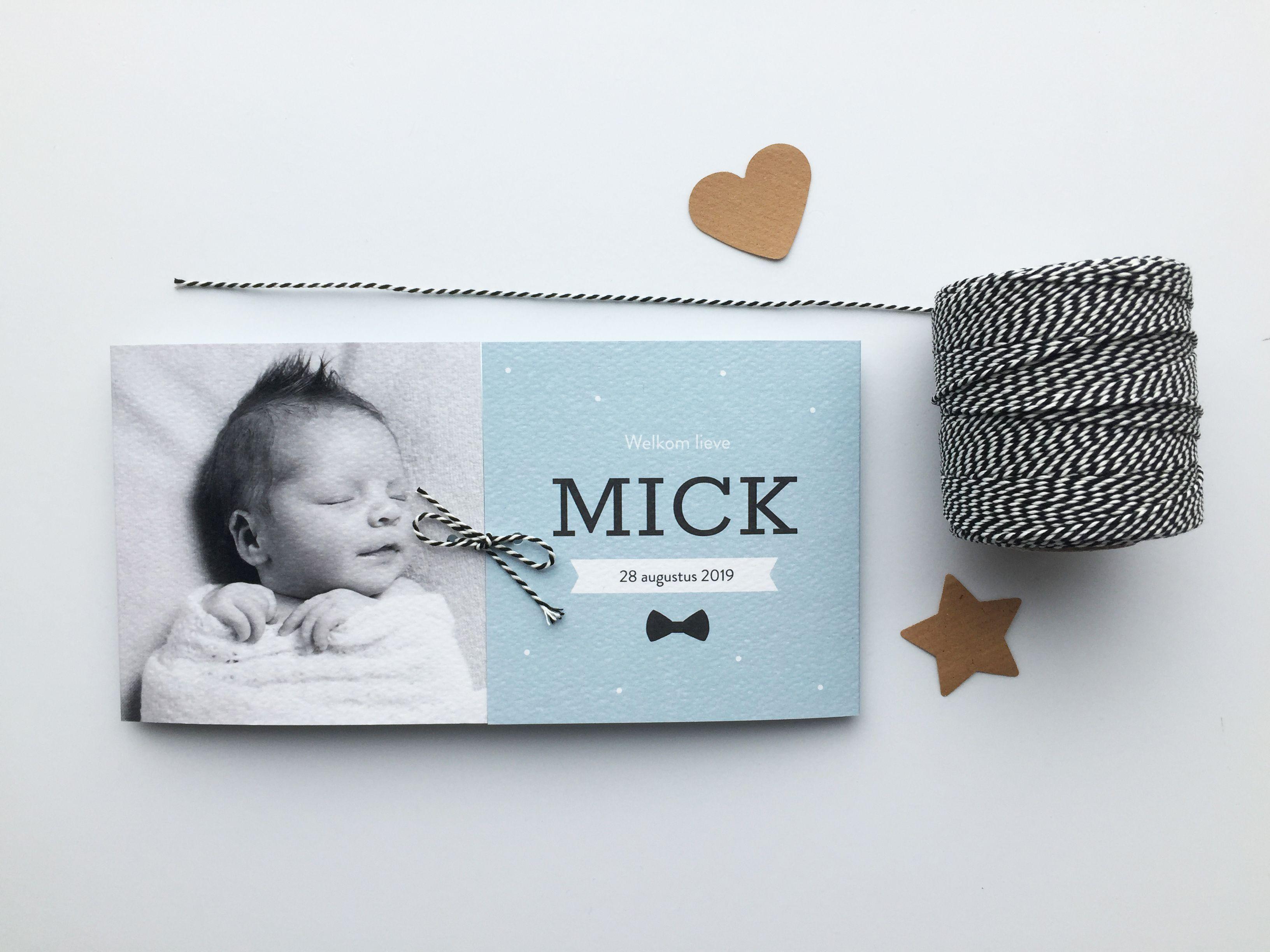 Tweeluik geboortekaartje met foto en stipjes geboortekaart geboortekaartjes tweeluik diy