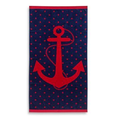 Jacquard Anchor And Star Beach Towel Bedbathandbeyond Com
