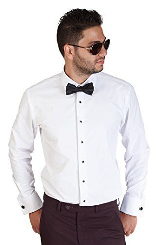 Black Collar Tailored Slim Fit Wrinkle Free BY AZAR New Mens Dress Shirt White