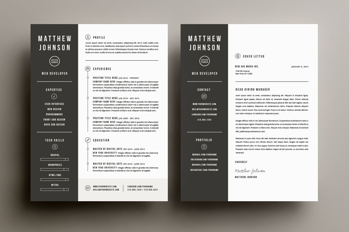 Free Resume And Cover Letter Template%0A Resume  u     Cover Letter Template by Refinery Resume Co  on Creative Market