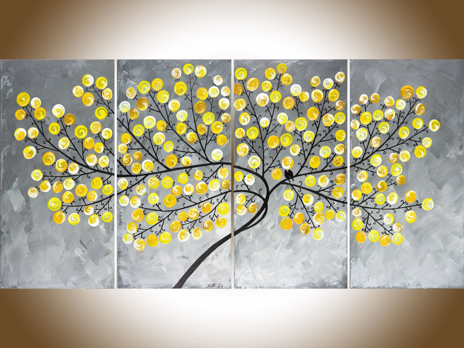 Yellow gray large wall art painting on canvas swirl leaves tree love ...