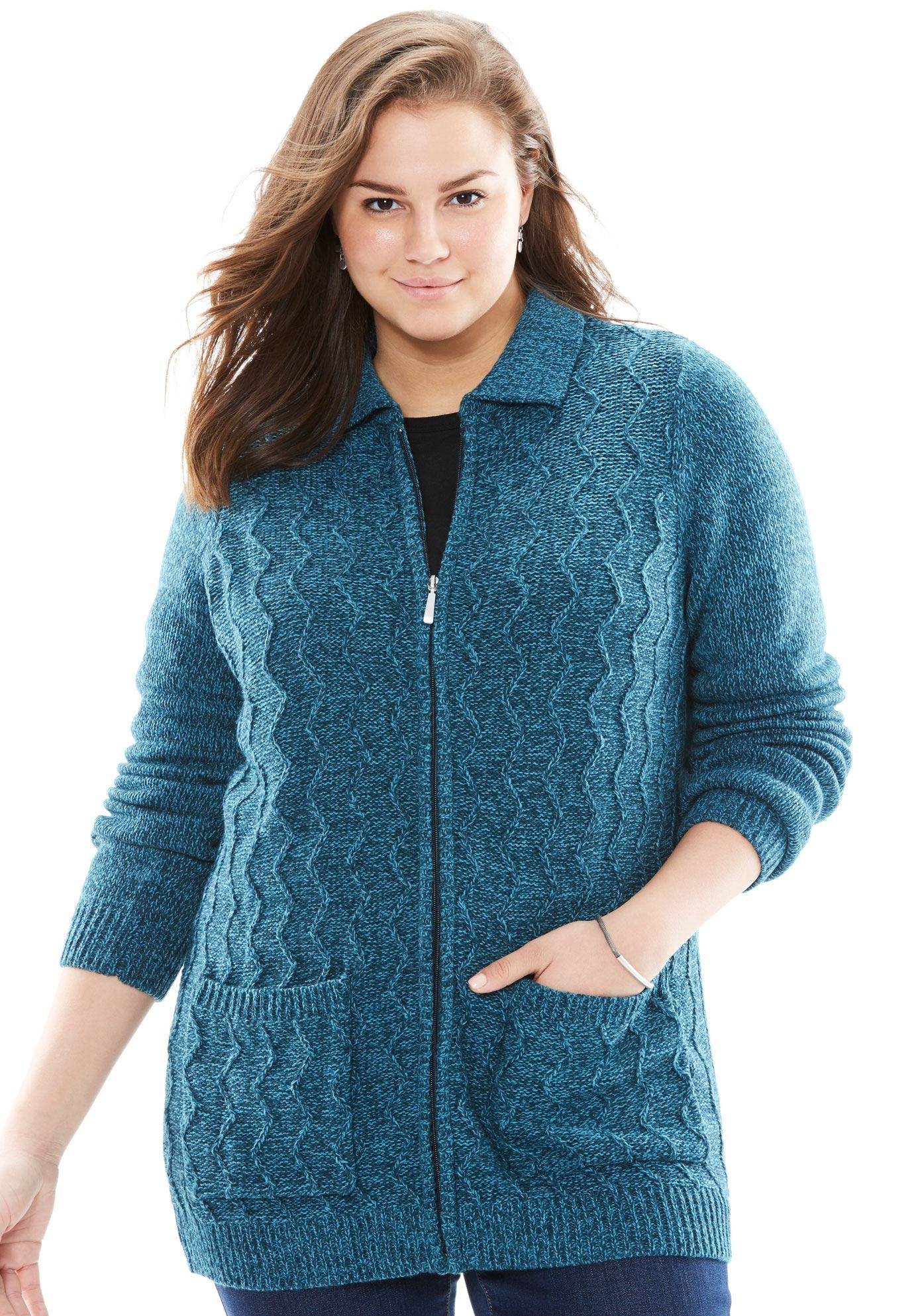 be7cf2eac Marled zip front cable knit cardigan - Women s Plus Size Clothing ...