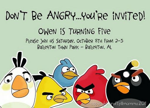 Angry Birds Birthday Party Invite