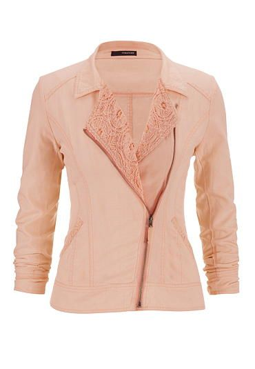 asymmetrical linen moto jacket with lace