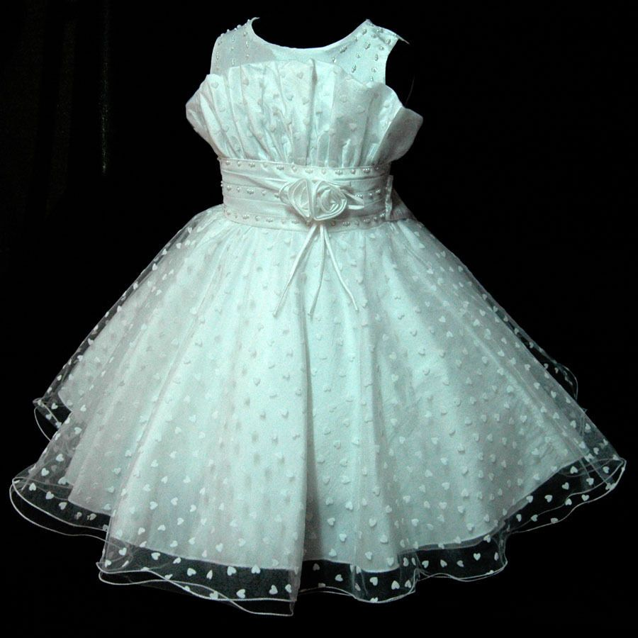 W8811 White Church Christening Wedding Party Flowers Girls Dress ...