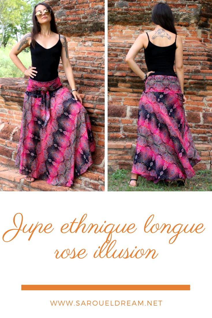 Jupe ethnique longue rose illusion jupe ethnique longue rose illusion