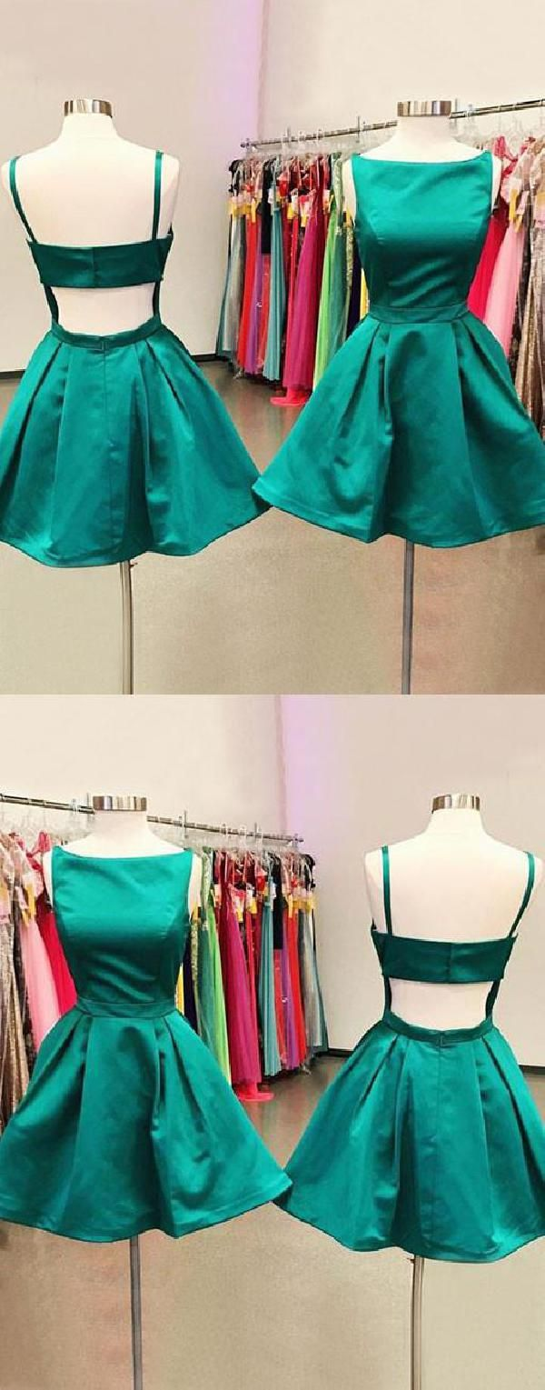 Cute backless green aline seve homecoming dresses