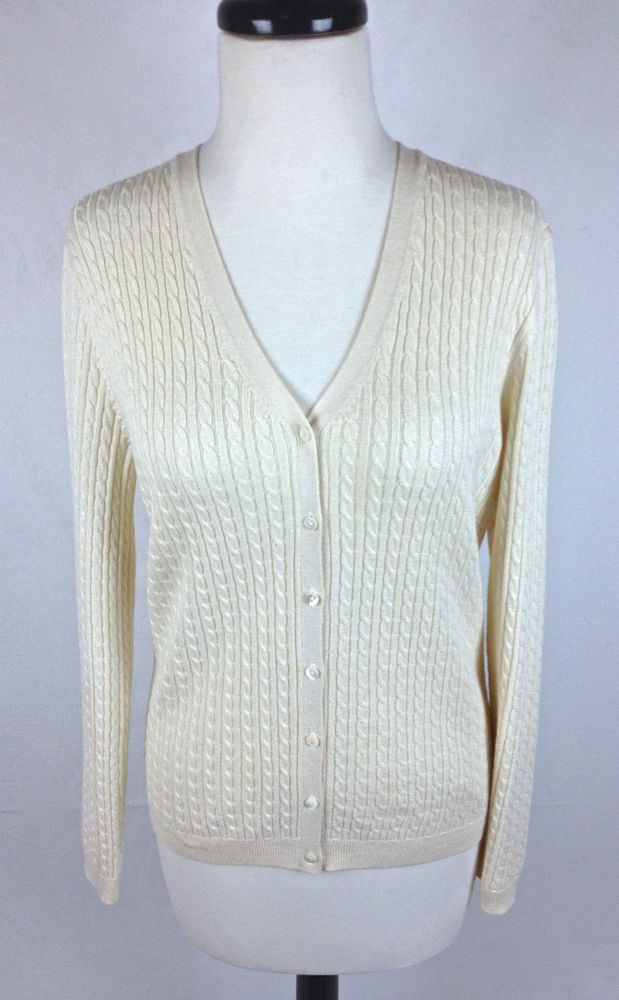 Brooks Brothers Sweater Womens Ivory Cashmere Silk Long Sleeve ...