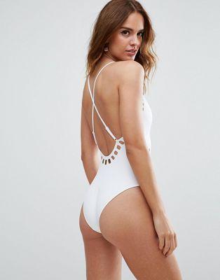 1e5e06c1b4 DESIGN Neoprene Laser Cut Out Plunge Cross Back Swimsuit | Clothes ...
