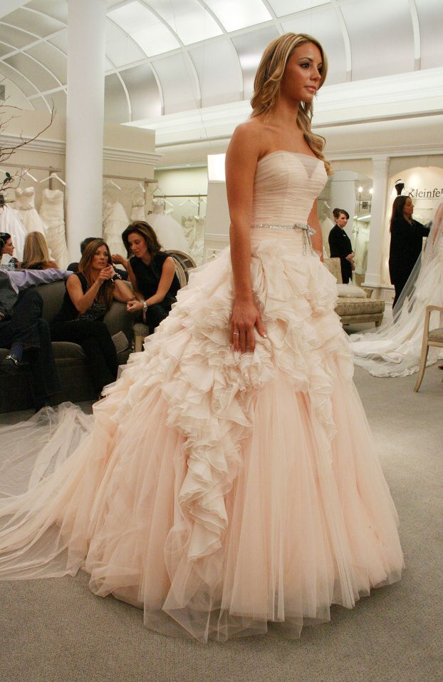 Blush colored wedding dress say yes dress