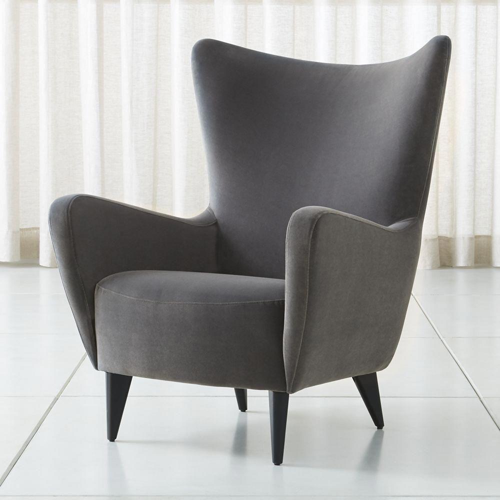 Elsa grey velvet wingback chair in 2020 velvet wingback