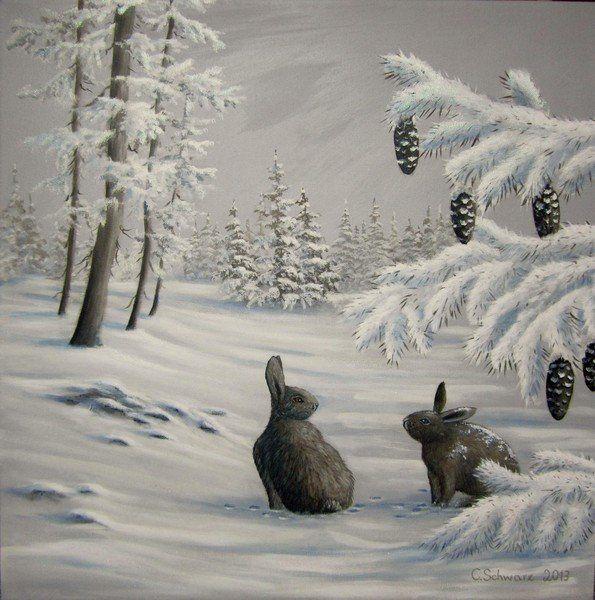 """Acrylgemälde """"Winterlandschaft mit Hasen"""" – 60cmx60cm Geschenk Bild Original handgemalt Unikat Winterbild Kunstwerk Naturmalerei verschneit"""