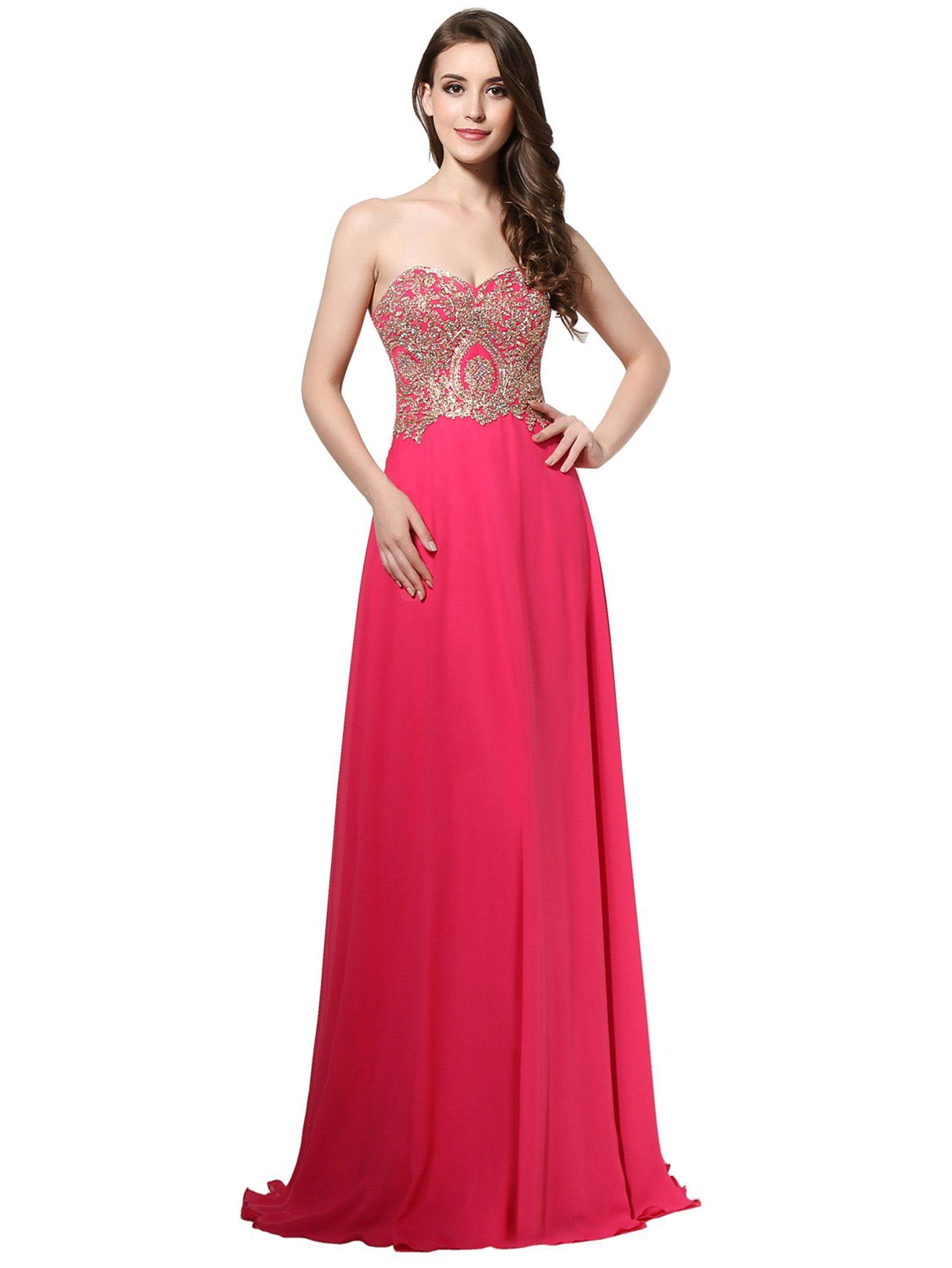 a2d53b44c Vestido de dama de honor con escote en forma de corazón con adornos de  pedrería de chifón-(Sheinside)