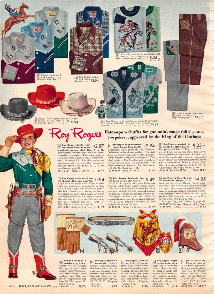 9f5842b6243ce Vintage Roy Rogers Clothes   Outfit from a 1952 Sears catalog ...