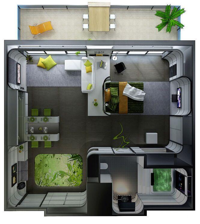 Futuristic Small House Plan Studio Apartment Floor Plans Studio Apartment Layout 3d House Plans