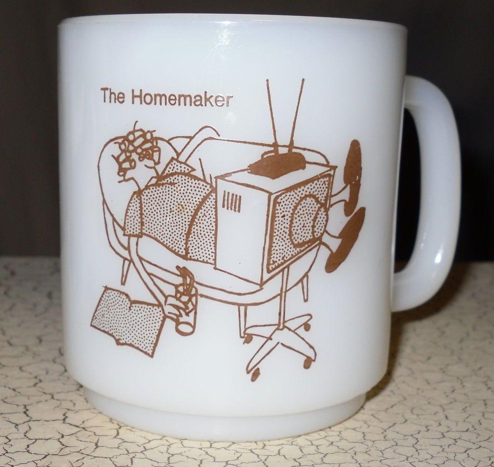 Glass 1972 The Homemaker Milk Glass Coffee Cup