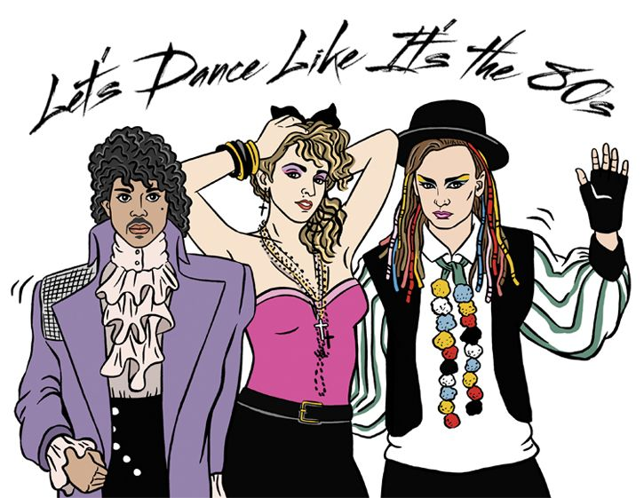 Prince madonna and boy george illustration lets dance like its lauraszumowski lets dancebirthday cardsbirthday bookmarktalkfo Image collections