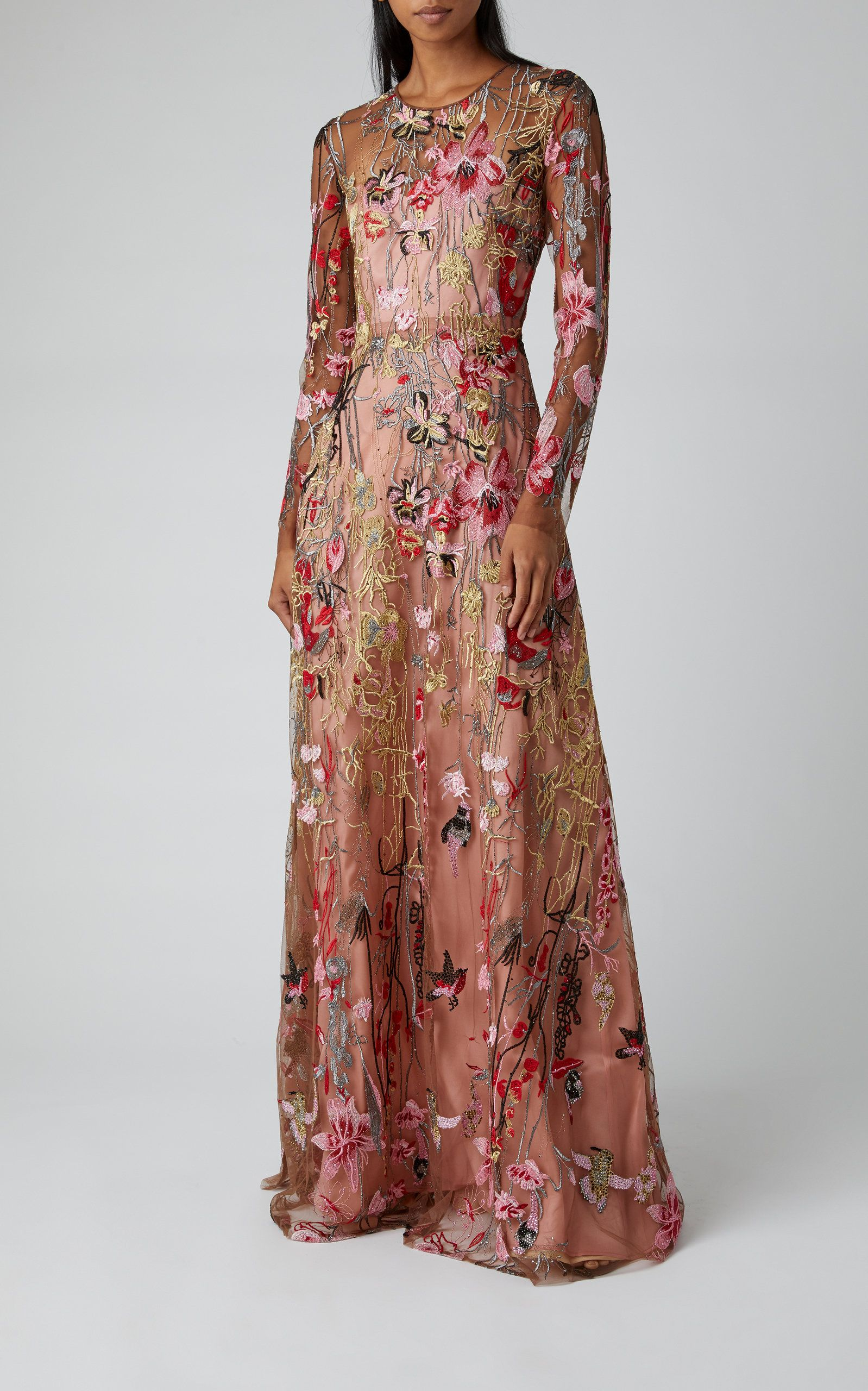 Naeem Khan Multicolor Floral Embroidered Gown Maxi Dress With Sleeves Long Sleeve Maxi Dress Embroidered Gown [ 2560 x 1598 Pixel ]