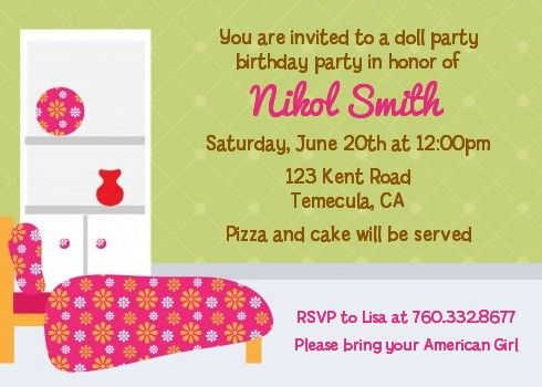 Doll Party - Birthday Party Invitations Party invitations, Doll - birthday invitation message examples