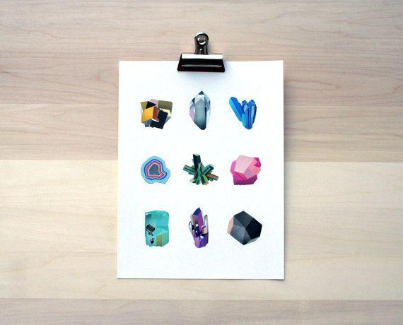 Assorted Minerals Small Print by shoplindsayjones on Etsy