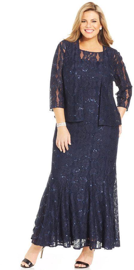 Alex Evenings Plus Size Sequin Lace Gown And Jacket Plus Sizes