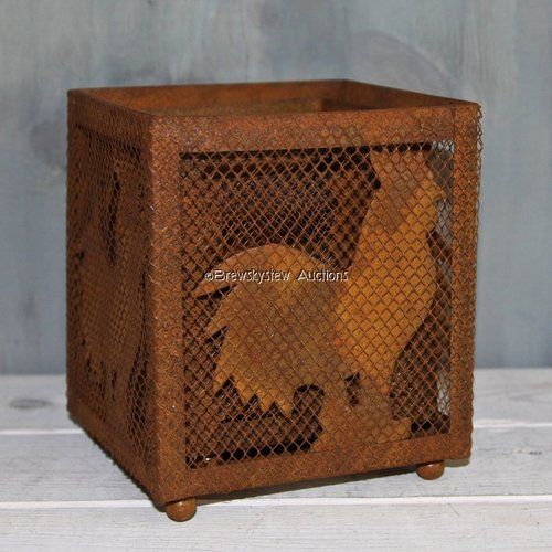 Nesting Rooster Chicken Metal Screen Candle Holders / Plant Containers LOW opening bid, $9.99