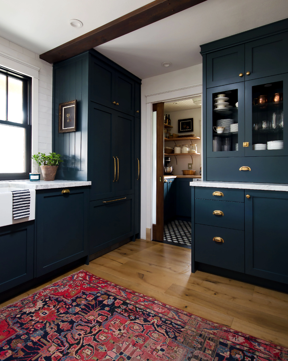 Navy Kitchen With A Stunning Built In Navy Kitchen Kitchen Cabinet Colors Home