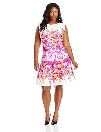 9ed5e87232e ... spring and summer dress! Julian Taylor Women s Plus-Size Floral Print  Sleeveless Fit and Flare Dress