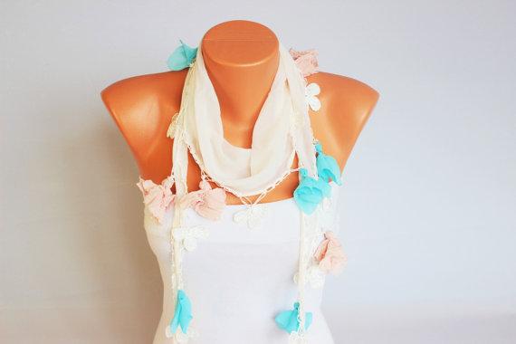 SUMMER SCARF ivoryTurkish oya scarf   turkish yemeni by SenasShop
