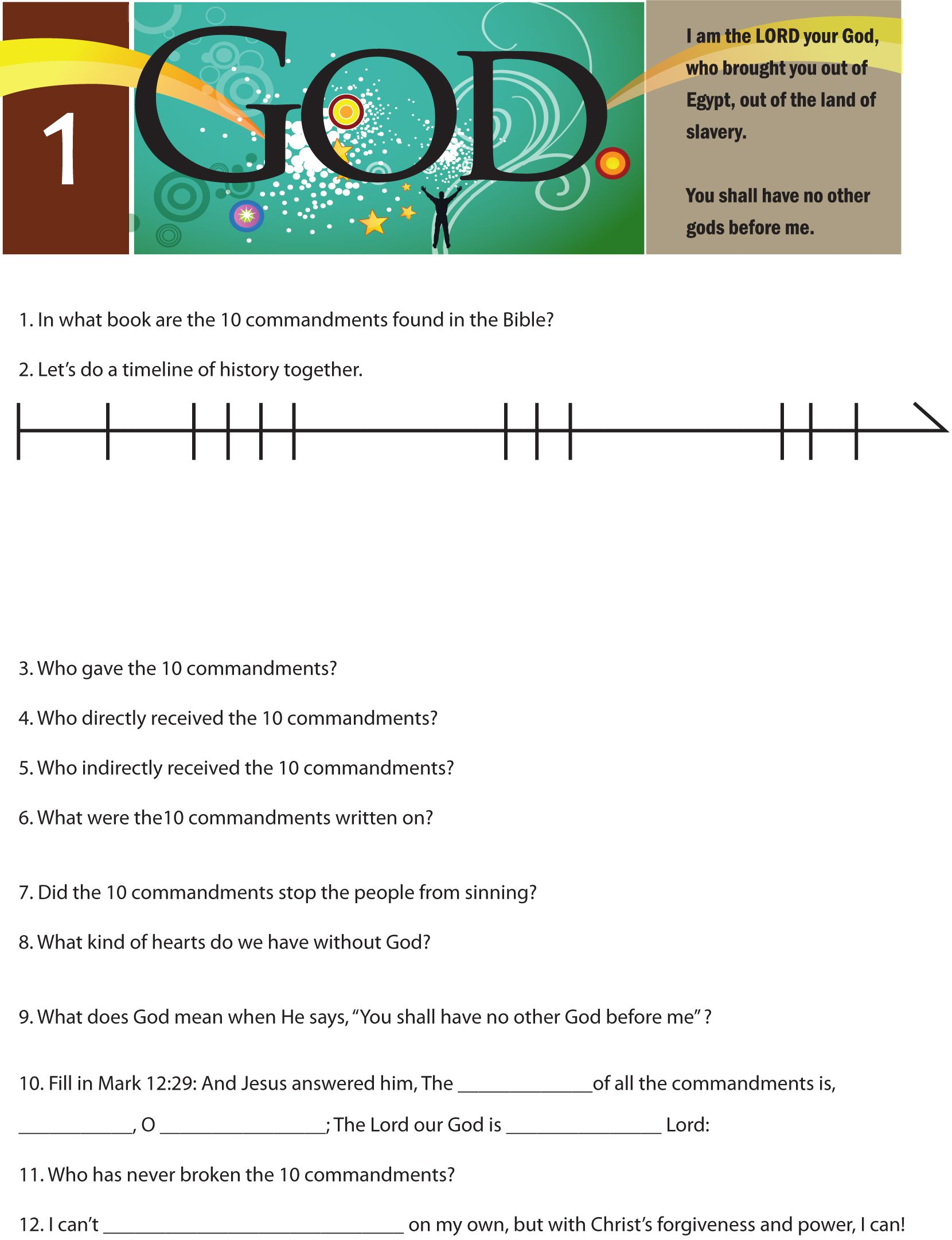 A Worksheet To Teach The First Of The 10 Commandments I
