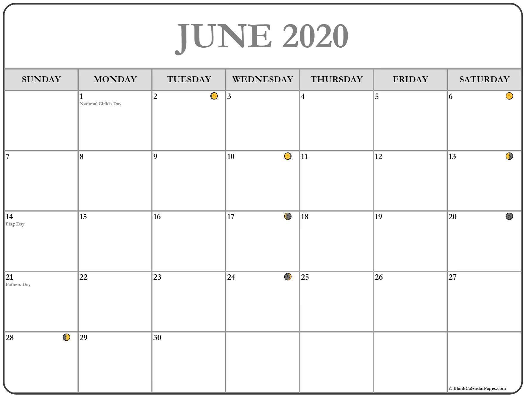 June Moon Phases Calendar In