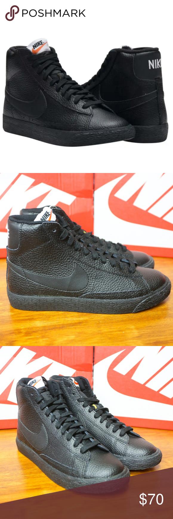 Nike Blazer Mid Gs Black White Gum 895850 001 Size 5.5