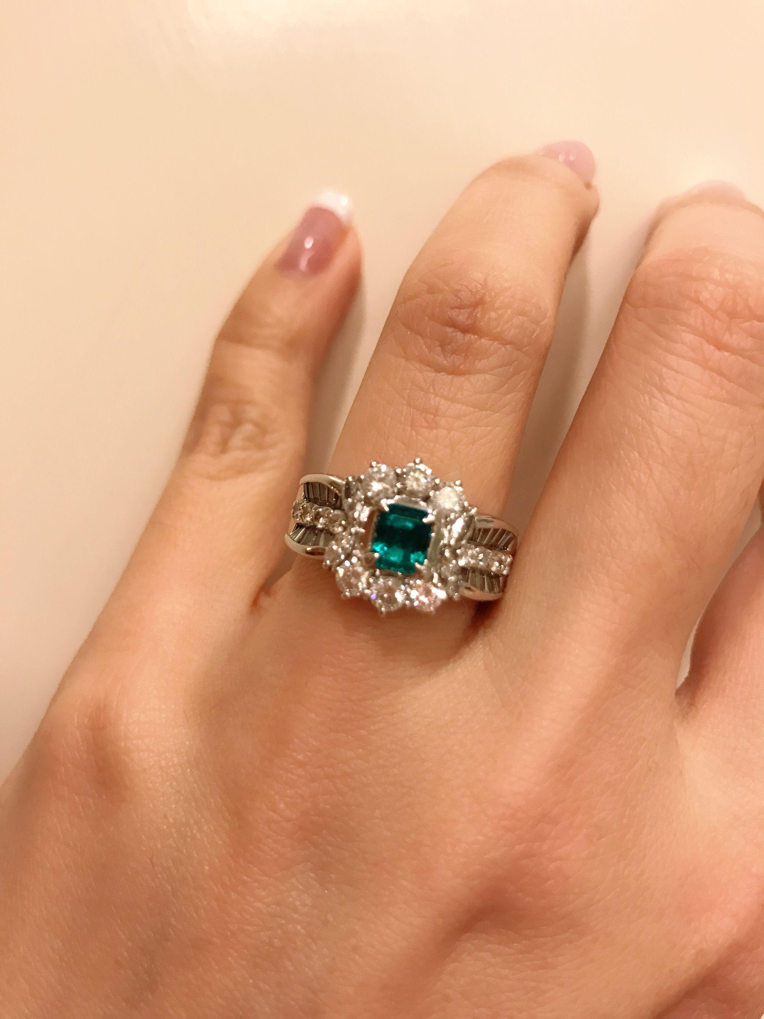 Vivid Green Emerald And Diamond Ring Set In Platinum Emeralds In