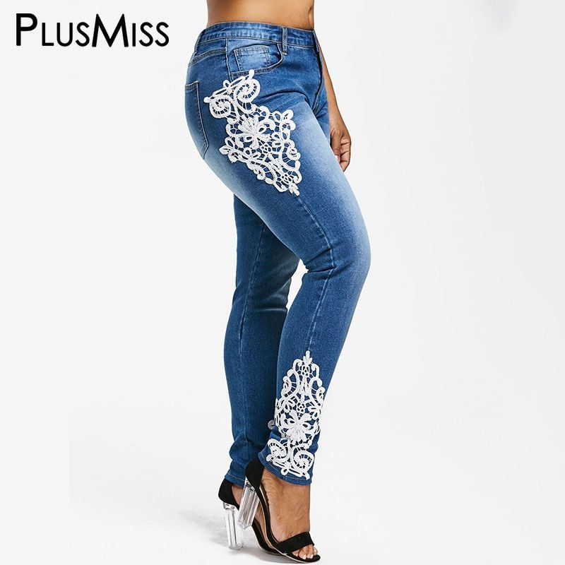 c96ff65bf53 Aliexpress.com  Acheter PlusMiss Plus Taille 5XL XXXXL XXXL XXL Dentelle  Crochet Jean Délavé Femme Grande Taille Bleu Dames Denim Jeans Maman  Pantalon ami ...