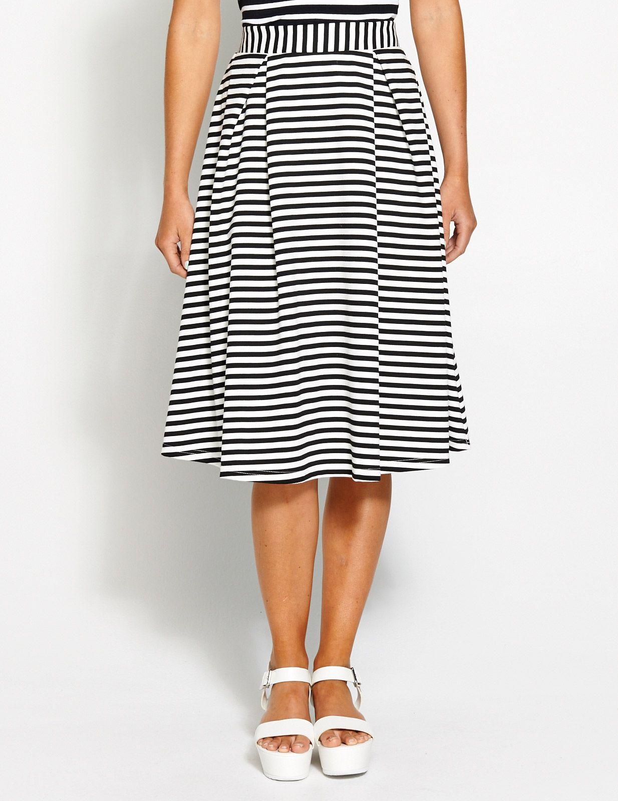 Image for Stripe Full Midi Skirt from Dotti | Brunette | Pinterest ...